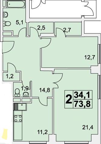 Планировка Двухкомнатная квартира площадью 73.8 кв.м в ЖК «Богородский»
