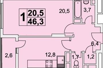 Планировка Однокомнатная квартира площадью 46.3 кв.м в ЖК «Богородский»